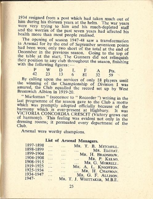 Arsenal handbook 1949-50 page 25