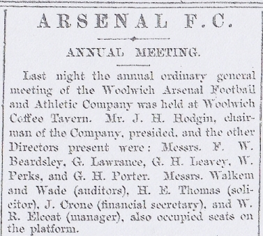 Woolwich Arsenal's AGM in 1898