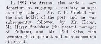 Arthur Kennedy's list of early Arsenal managers
