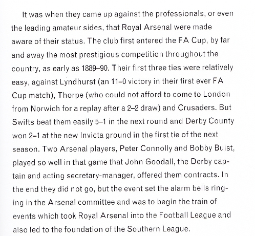 Extract from Arsenal's Official History
