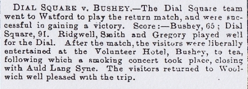Dial Square Cricket Club v Bushey Woolwich Gazette 27 August 1886