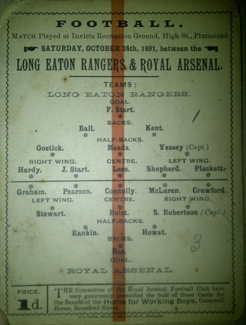 24 October 1891 Royal Arsenal v Long Eaton Rangers Courtesy of Darren Epstein @DarrenArsenal1