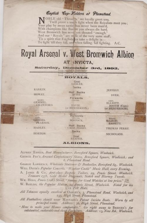 3 December 1892 Royal Arsenal v West Bromwich Albion Courtesy of Football Progs