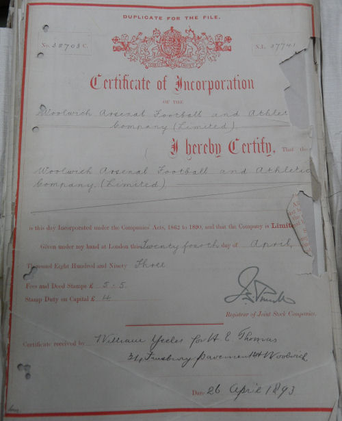 The Woolwich Arsenal Football And Athletic Company Limited Certificate of Incorporation 26 April 1893