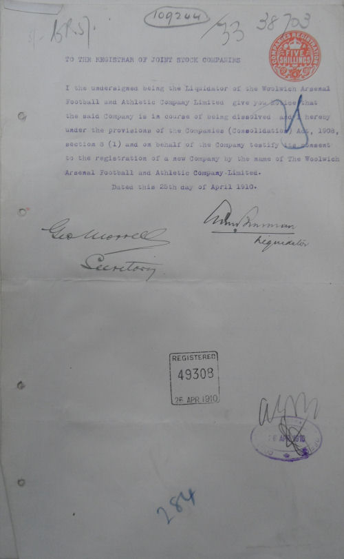 Transfer of assets to new company 25 April 1910
