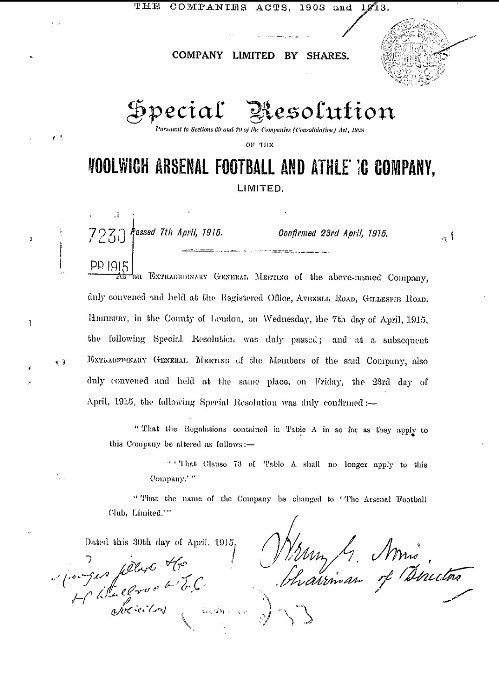 Special resolution passed by the board of The Woolwich Arsenal Football And Athletic Company Limited 23 April 1915 Courtesy of Phil Wall
