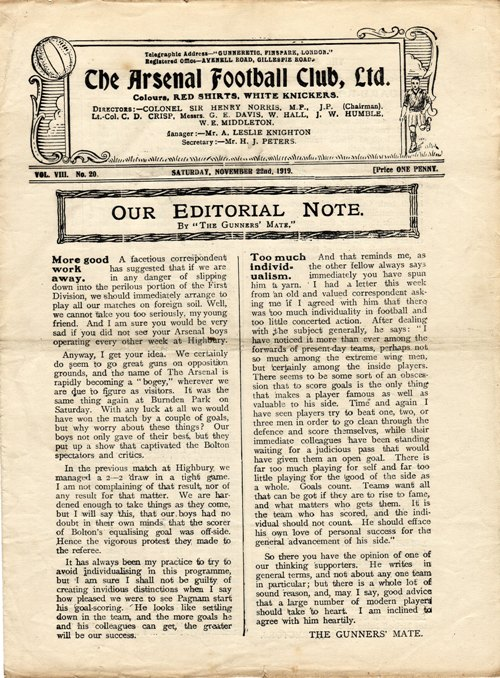 22 November 1919 Arsenal v Notts County