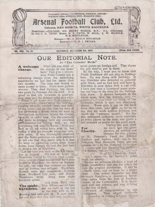 6 December 1919 Arsenal v Chelsea