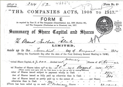 20 August 1924 The Arsenal Football Club Limited Summary of Share Capital and Shares