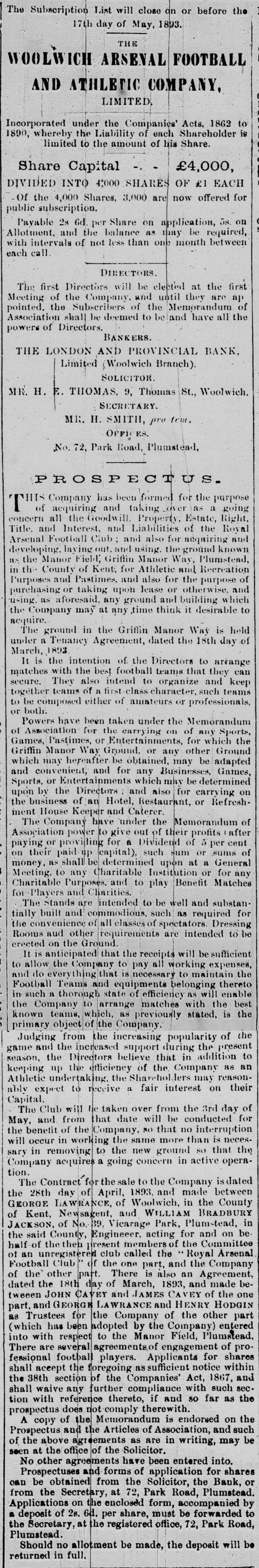 Prospectus for shares in The Woolwich Arsenal Football And Athletic Company Limited