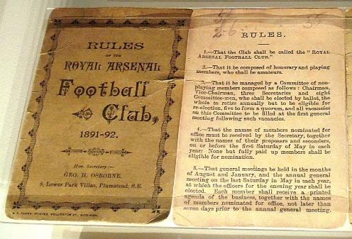 Rules of the Royal Arsenal Football Club 1891-92