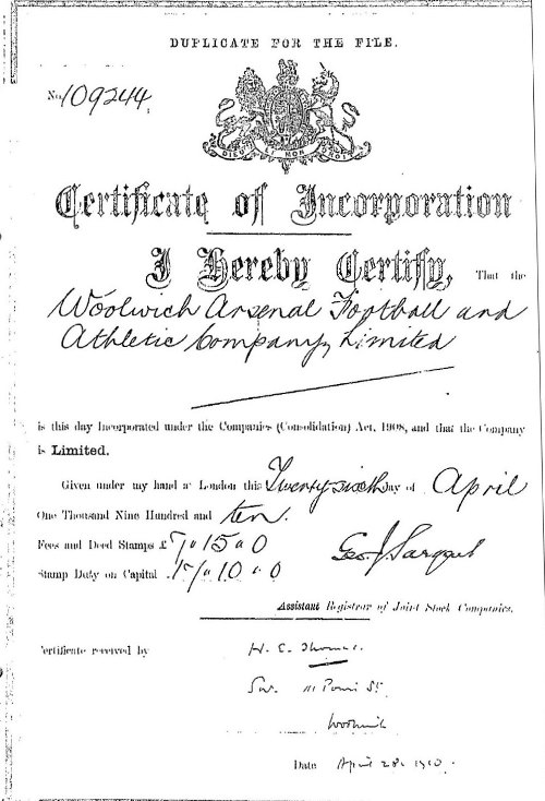 The Woolwich Arsenal Football And Athletic Company Limited Certificate of Incorporation 26 April 1910
