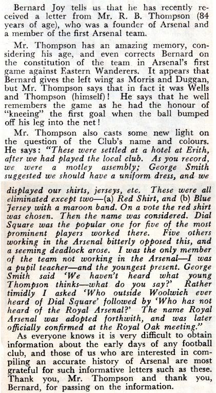 Robert Thompson's account of the name change recounted in 1952