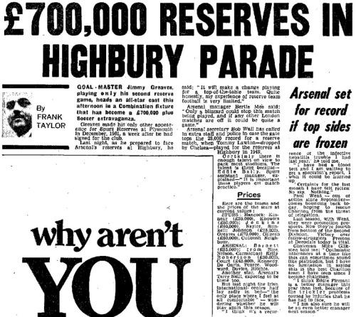 1970-02-14 Daily Mirror Arsenal reserves v Tottenham