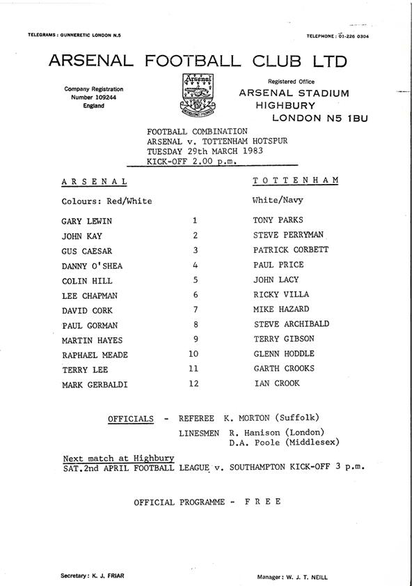 1983-03-29 Tottenham Hotspur (H) FC