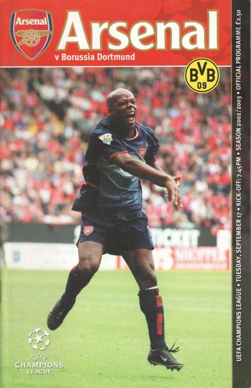 Arsenal v Borussia Dortmund programme cover
