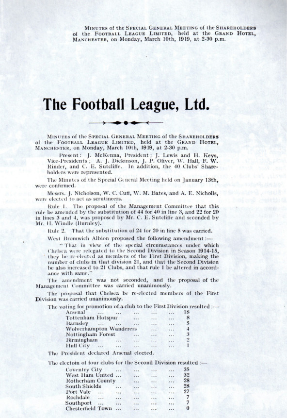 Football League minute book showing the result of the vote