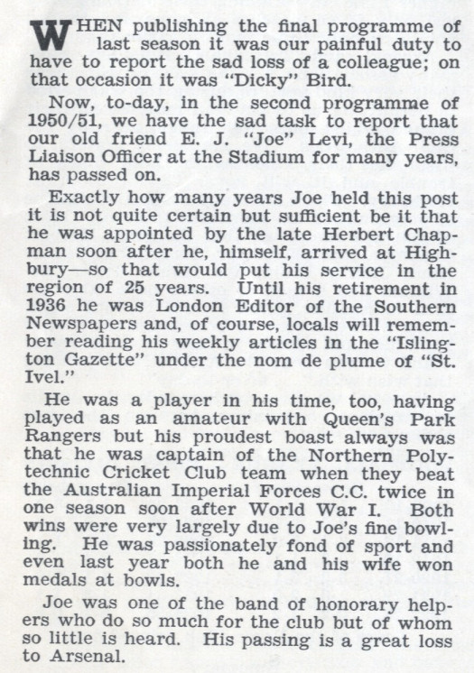 The Arsenal programme announced the death of Joe Levi in 1950