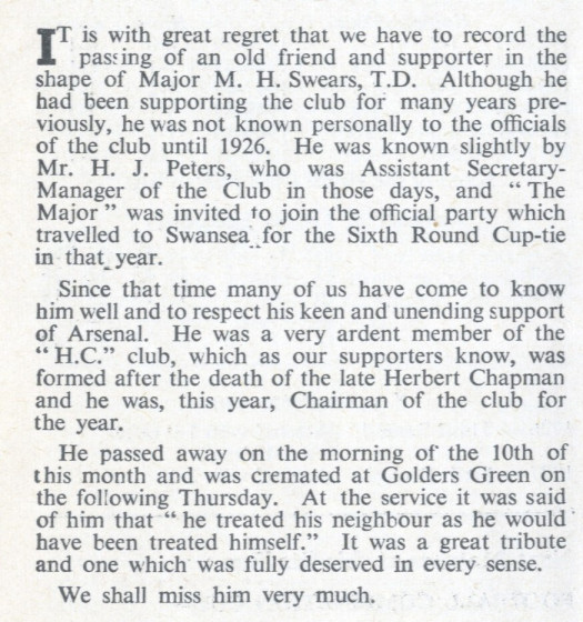 The Arsenal programme announced the death of Mark Swears in 1951