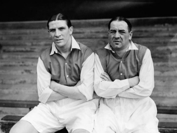 Goalscrorer Ted Drake and architect Alex James