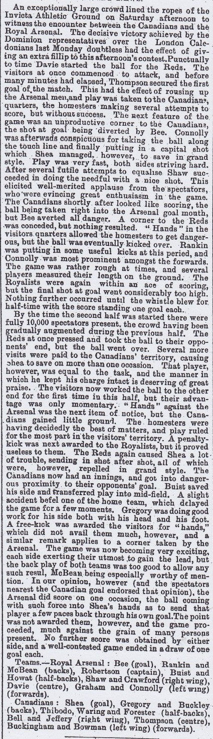 Royal Arsenal v Canadians 28 November 1891
