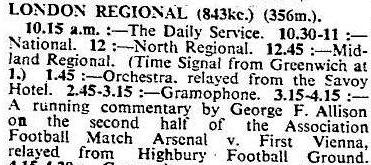 1933-12-04 The Times - George Allison commentates a