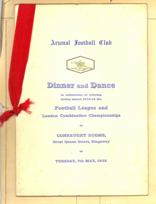 Arsenal 1935 Championship dinner menu. From the Collection of Rob Mason, Sunderland AFC programme editor