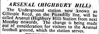 1932-10-26 The Times - renaming of Gillespie Road station