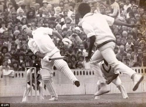 Close, with no protection at all, hit by an Andy Roberts Bouncer
