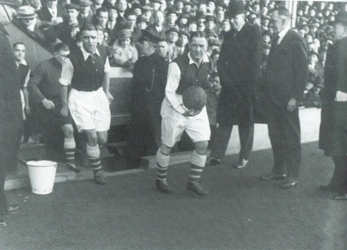 Alex James leads out the team in 1934-35