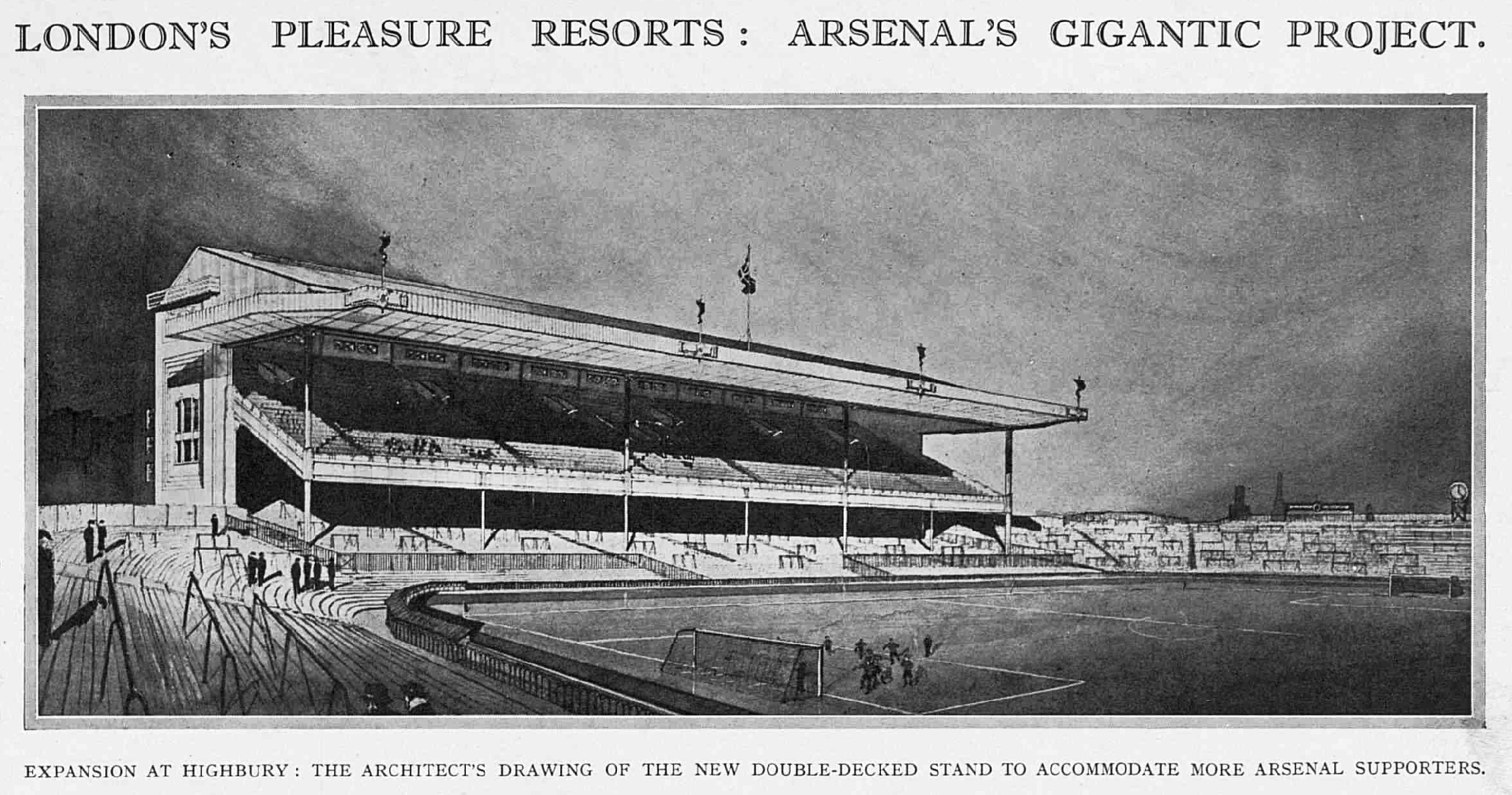 Architects planned drawing of the West Stand from April 1932